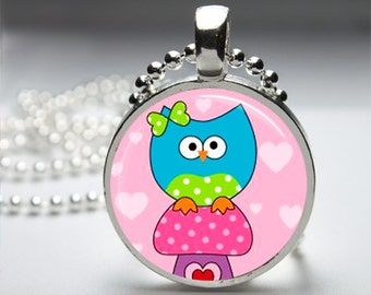 Cute Mushroom Owl Round Pendant Necklace with Silver Ball or Snake Chain Necklace or Key Ring