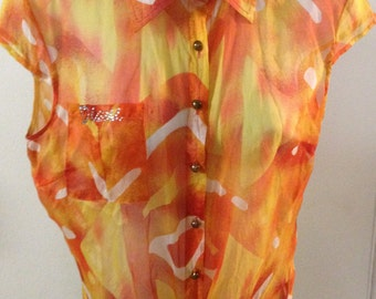 1990s Kamalti Blouse in Orange, Yellow, White with Capped Sleeve,  Tie Waist and  Brass Buttons, Sz 42