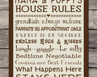 Printable - Grandparent House Rules/List - 8x10 Poster/Sign/Print/Wall Art