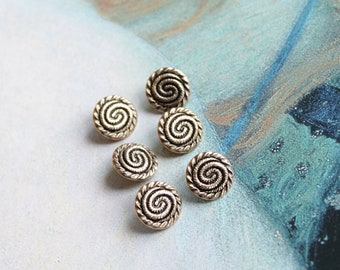 """6 vintage buttons from 13 mm, 1/2 """"snail-shaped, metal gold blouse, hobby, textile arts, 130"""