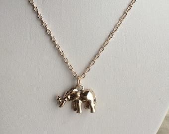 Wildlife kingdom Elephant necklace, Rose Gold elephant Charm Necklace, elephant, animal necklace, Rose gold charm, elephante
