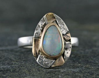 Opal Ring, White Opal Gemstone Ring, Australian White Fire Opal, October Birthstone Ring, Gold Silver Sculptural Ring, Armstrong Art Jewelry