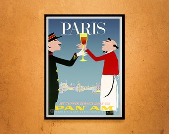 Reprint of a Vintage Pan Am to Paris Airline Travel Poster