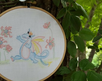 Dragon embroidery. Hand Embroidery. Instructions embroidery Pattern. Hoop Art
