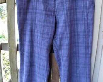Plaid Corduroy Pants/ Size 18 Retro Cords/ Funky Baggy Pants/ Wide Leg Cords/ Thrifted Funwear/ Cotton Corduroy/ Shabbyfab Recycled Pants