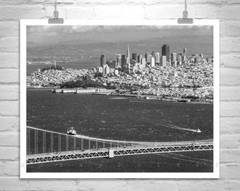 San Francisco Art, City Skyline, Golden Gate Bridge Photo, California Art for Office, Black and White, San Francisco Gift, Bay Area Gift