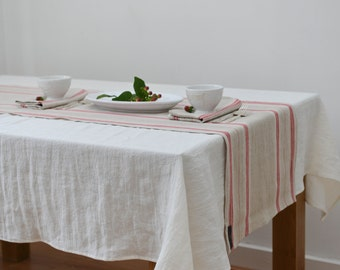 Red Stripe French Country Linen Table Runner