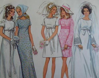 EMPIRE WEDDING DRESS Pattern • Butterick 5660 • Miss 16 • Bridesmaids • Bell Sleeves • Sewing Patterns • Bridal Patterns • WhiletheCatNaps