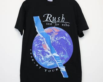 Rush Shirt Vintage tshirt 1996 Test For Echo Tour Concert tee 1990s Alex Lifeson Geddy Lee Neil Peart Heavy Metal Progressive Rock Band