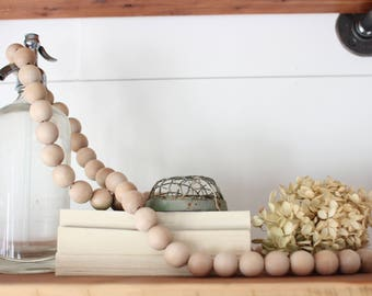 "Large Wooden Bead Garland - Circle - Loop - 48"" - Neutral home decor - Decor Accent - Farmhouse decor - wood bead garland"