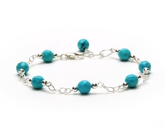 Turquoise and Sterling Silver Chain and Link Bracelet - December Birthstone Jewelry