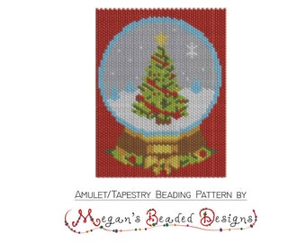 Christmas Tree Holiday Globe - Tapestry Amulet Beading Pattern in Peyote or Brick Stitch Printable PDF
