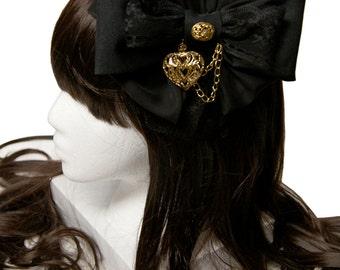 Beautiful Black and Gold Gothic Bow Headband