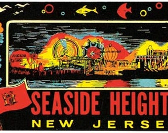 Vintage Style Seaside Heights NJ New Jersey shore  1950's   Travel Decal sticker