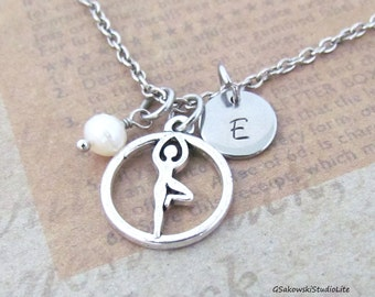 Yoga Charm Necklace, Personalized Antique Silver Hand Stamped Initial Tree Pose Charm Necklace