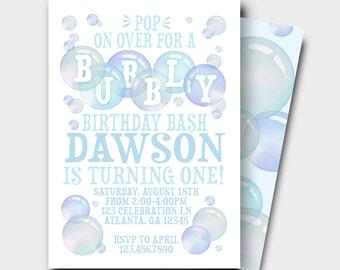 Bubble Birthday Invitation | Bubbles Invitation | Bubbly Birthday Bash | First Birthday Invitation | Boys Birthday Invitation