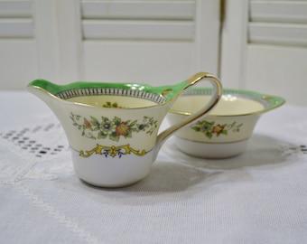 Vintage Noritake Roseara Sugar Bowl and Creamer Set Floral Design Morimura Japan PanchosPorch