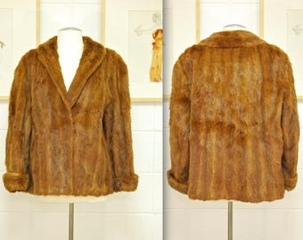 Vintage 1950's/60's Brown Mink FUR COAT / The Hurtigs of Vaughan Street / Retro Collectable Rare