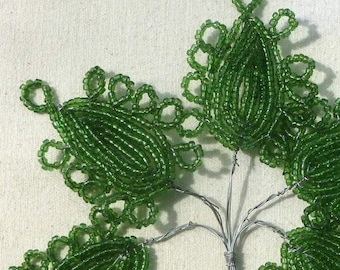 Vintage French Glass Beaded Leaves