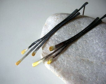oxidized gold plated sterling silver twig earrings.