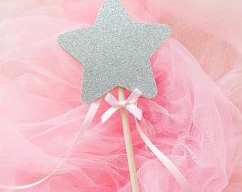 Fairy Princess Wand Pink and Gold Glitter or Silver. Princess Theme Wand. Birthday Girl. Silver and Pink. Mint. Birthday Party. Girls Party.