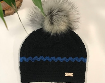 The Thin Blue Line Crochet Pompom Hat