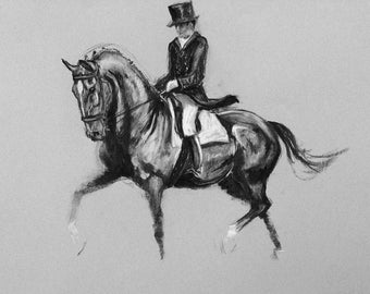 Beautiful Equine horse dressage LE print 'Bounce' from an original charcoal by Heather Irvine individually signed and dated