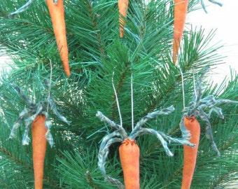 Primitive Hanging Carrots - Set of 6 Fabric Carrot Ornies - Primitive Easter Decor - Orange Stuffed Vegetables