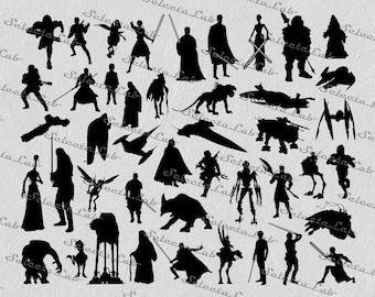 Digital SVG PNG jedi, sith, darth vader, luke skywalker, yoda, han solo, star wars inspired clipart, vector, silhouette, instant download