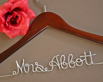 SALE Personalized Bridal Hanger, Bridesmaid gift, Wedding Dress Hanger, Bridal Shower Gift, Bridal Party, Graduation Gift || with ribbon