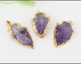 5pcs Small size Nature Druzy Arrow shape Amethyst pendant, Gold Electroplated Drusy Crystal Quartz Gemstone pendant For Jewelry Making