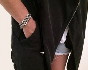 Silver bracelet, Link bracelet, oxidized silver bracelet, stud bracelet,chain bracelet silver, rock,goth,punk,urban,link chain, Gift for her