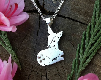 Sterling Silver Deer Necklace, Hand Cut Fawn Pendant, Jewelry With Poem