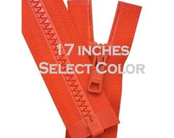 17 inch Vislon Jacket Zipper YKK 5 Molded Plastic Medium Weight  Separating  Select Color
