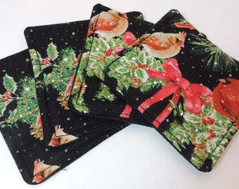 Christmas Cardinals Drink Coasters black red green Matching set of 4 R-XC-8