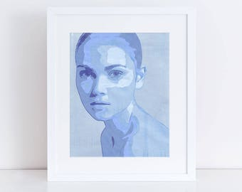 portrait of a girl fine art limited edition print - fashion illustration, woman art print, wall art, blue, home decor, security envelope