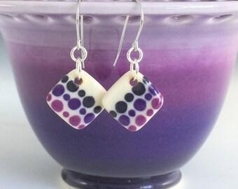 Handmade Ceramic Earrings, Porcelain Earrings, Small Drop Earrings, Purple Earrings, Surgical Steel or Sterling Ear Wires, Pottery Earrings