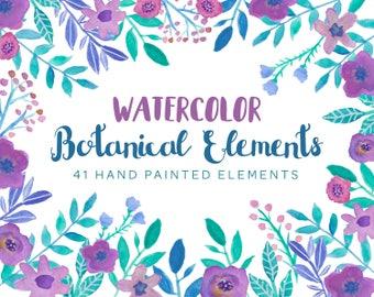 Watercolor Floral Elements - Flower Clipart - Peony Elements - Watercolor Wreath - Wedding Clipart - Floral Assets - Separate Elements