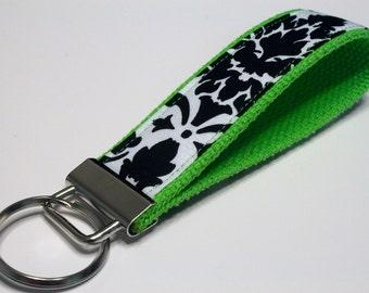 Fabric Key Fob, Key Chain, Key Ring, Key Holder, Wristlet Key Fob, Wristlet Keychain, Fabric Key fobs-Splash of green
