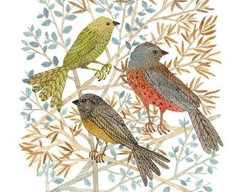 GROßE Singvögel Print, Giclée-Druck, Natur Vogelkunst, Wald Aquarell Druck, Vögeln, 13 x 19