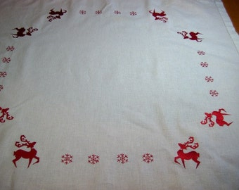 TEA CLOTH - Vintage Christmas Tea cloth with embroidered reindeer and Snowflakes