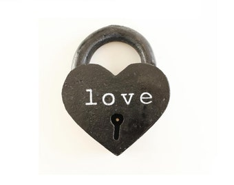 Black Heart Lock personalized 6th anniversary gifts for him iron anniversary gifts
