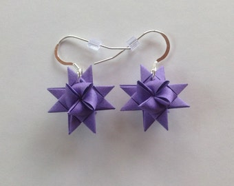 Moravian Star Earrings—Purple