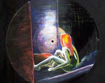 "Original Acrylic Painting on Vintage Vinyl Record - ""ghost"""