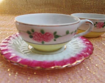 Espresso Cup Saucer Demitasse Cup Vintage Fine Porcelain Yellow Tea Cup with Roses Rose Banded Saucer Small Teacup Demitasse Espresso