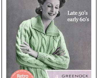 1950/60's Womens Chunky Cable Sweater Pattern – PDF Knitting Pattern -  PDF Instant Download