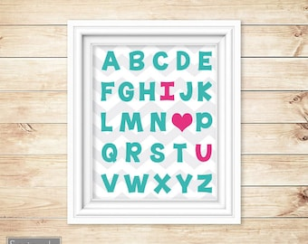 I Love Heart You Alphabet Teal Pink Learning Tool Wall Art Nursery Girl's Room Decor ABC's Printable 11x14 Digital JPG Instant Download 54