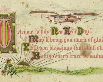 Antique New Year's Postcard Early Old Plane and Wonderful New Year's Verse 1914