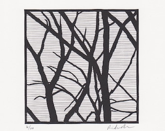 "Block print: Cherry Beach Trees - limited edition hand pulled fine art block print (6 x 6"")"