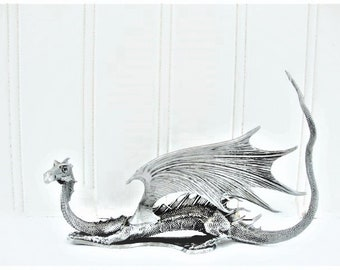 vintage dragon partha pewter pp804 1986 winged d and d figurine